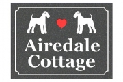 Airedale Dog Cottage Engraved Sign